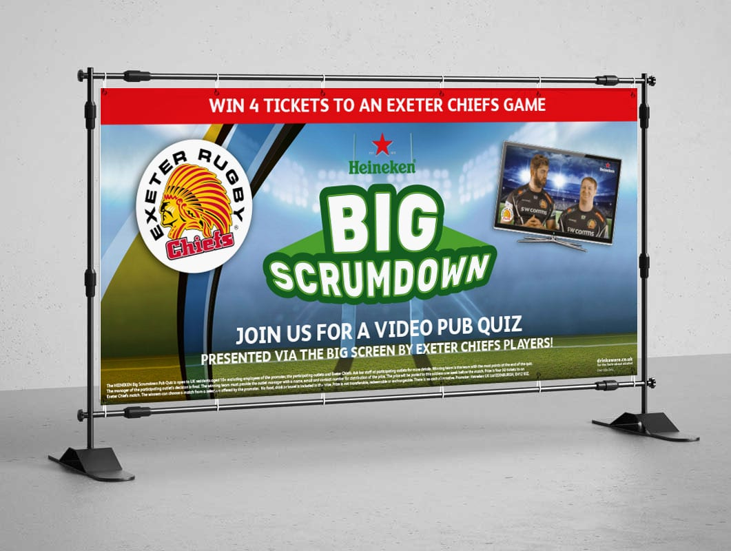 Image of Heineken Big Scrumdown banner designed by graphic designer and branding designer Jessica Croome of Perth WA