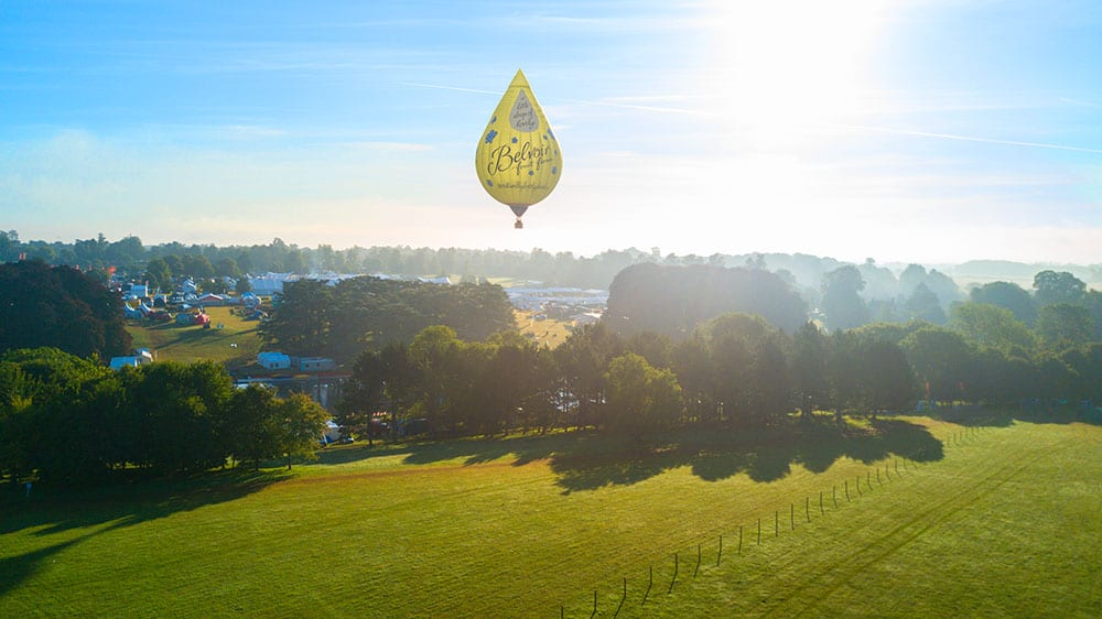 Image of Belvoir Balloon at Bristol Balloon Fiesta designed by graphic designer and branding designer Jessica Croome of Perth WA