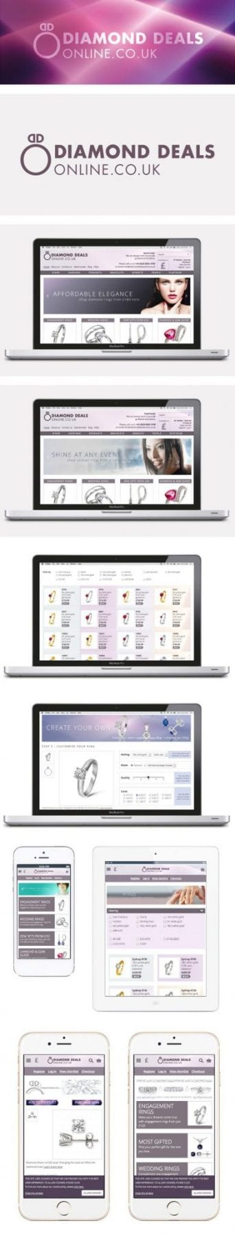 Images of Diamond Deals Online branding and e-commerce website, designed by graphic designer and branding designer Jessica Croome of Perth WA