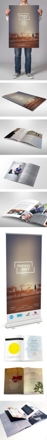 Image of 'Finding Mike' promotional material, designed by graphic designer and branding designer Jessica Croome of Perth WA