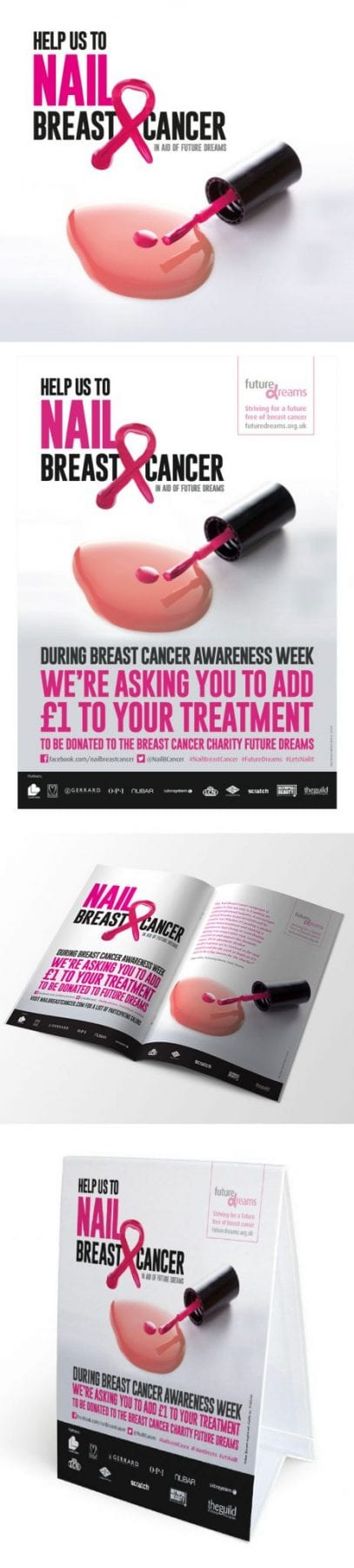 Image of nail breast cancer poster and booklet designed by graphic designer and branding designer Jessica Croome of Perth WA