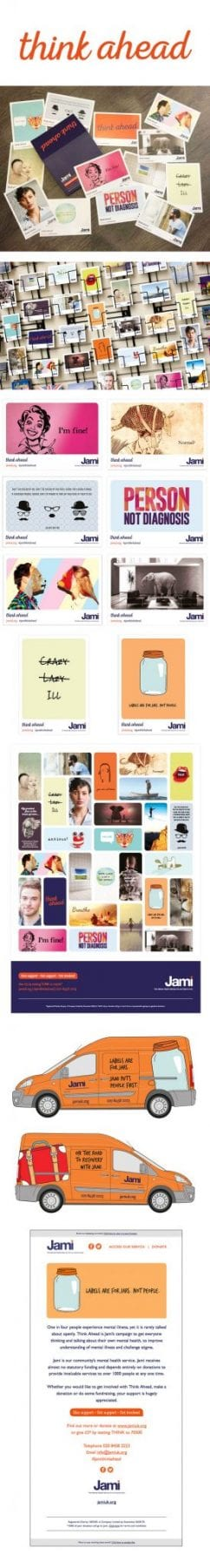 Image of Jami think again campaign designed by graphic designer and branding designer Jessica Croome of Perth WA