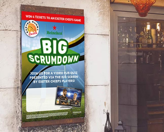 Image of Heineken Big Scrumdown poster designed by graphic designer and branding designer Jessica Croome of Perth WA
