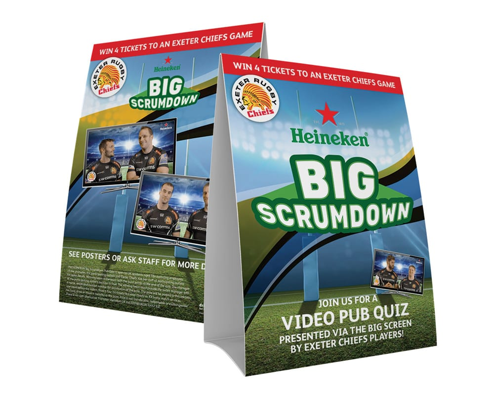 Image of Heineken Big Scrumdown tent cards designed by graphic designer and branding designer Jessica Croome of Perth WA