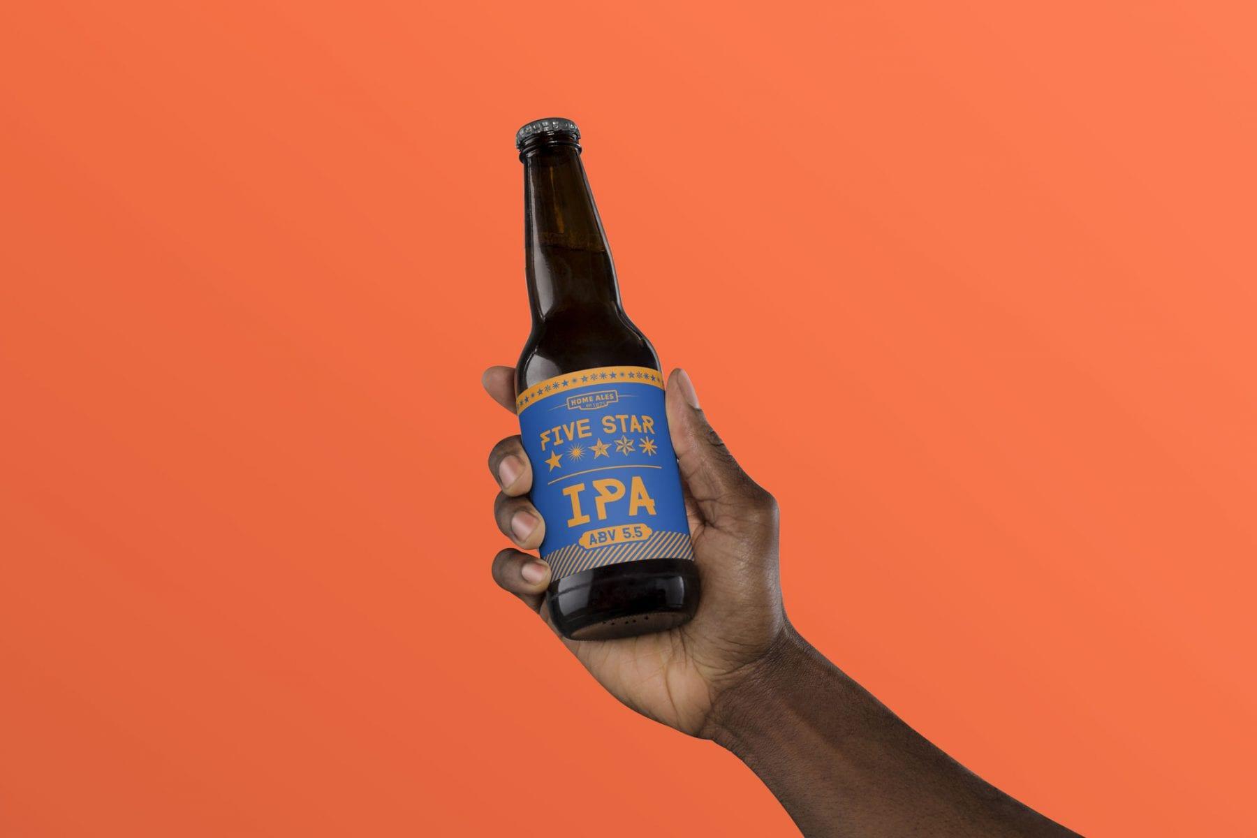 Design for Five Star IPA bottle label designed by branding designer and graphic designer Jessica Croome of Perth, WA