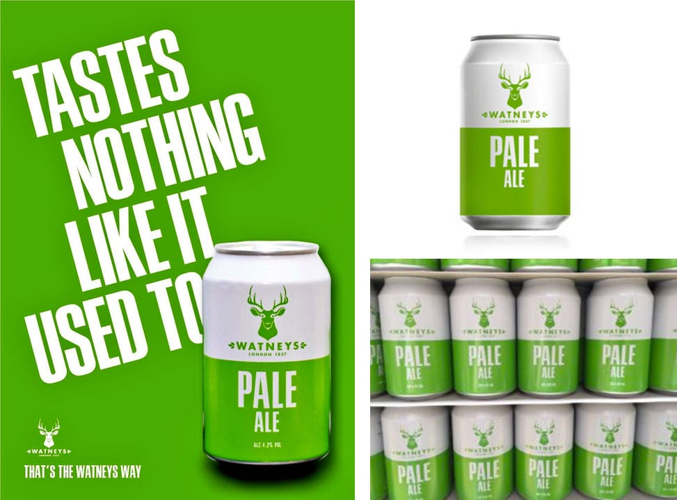 Image of can and poster design for Watneys Pale Ale, designed by branding designer and graphic designer Jessica Croome of Perth Western Australia