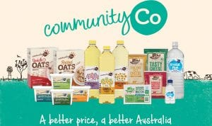 Image of the Community Co product range, including oats, butter, cheese, oil and water.