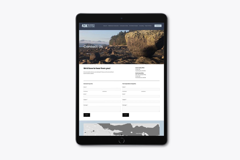 43k Wilderness Solutions website design contact form