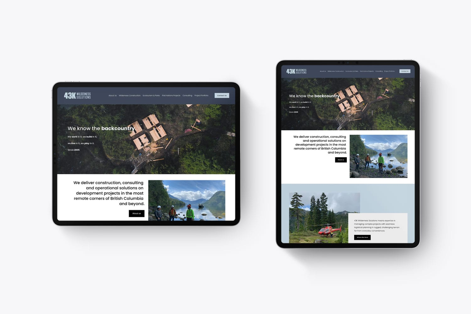 43k Wilderness Solutions website design page layouts
